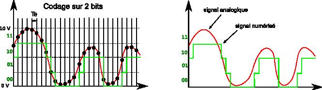 Signal analogique codé sur 2 bits
