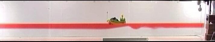 Vue de l'expérience illustrant le phénomène d'eaux mortes