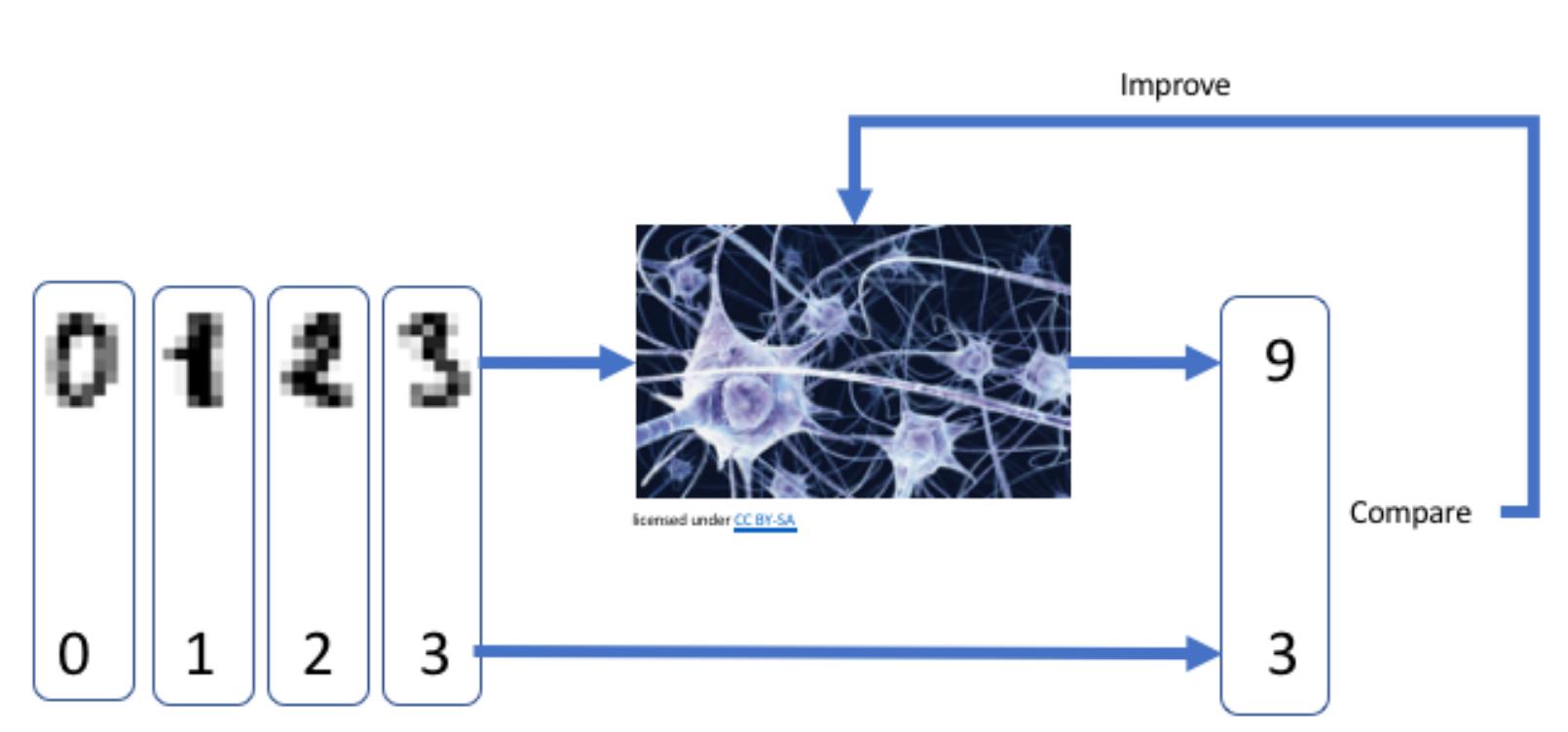 Fonctionnement d'un réseau de neurone entraîné pour la reconnaissance de chiffres.