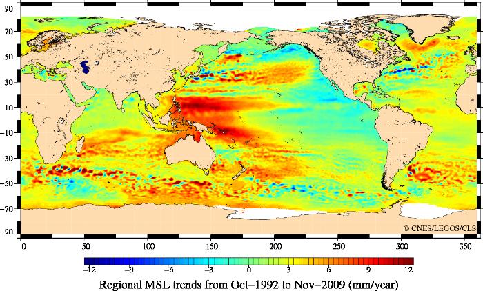 Répartition géographique de la variation du niveau moyen des mers vu par les altimètres, entre 1992 et 2009