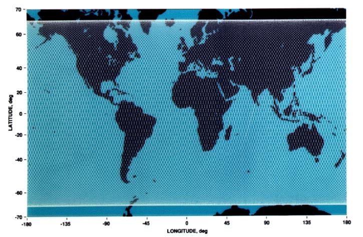 Traces au sol du satellite altimètrique sur le cycle de 10jours