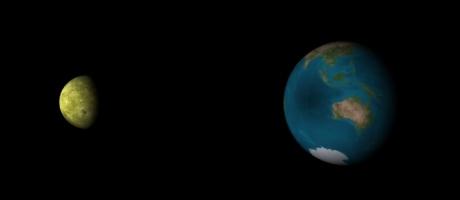 Représentation d'une éclipse totale de Soleil dans l'océan Indien