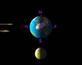 La Terre et la Lune en période de premier quartier