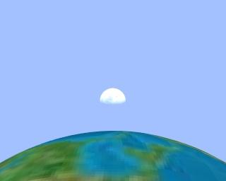 Premier quartier de lune, vu du voisinage du point M