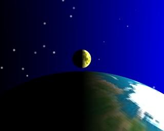 Premier quartier de lune, vu du voisinage du point N