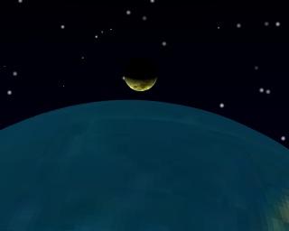 Premier quartier de lune, vu du voisinage du point P