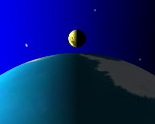 Premier quartier de lune, vu du voisinage du point S