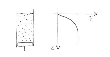 Allure générale du profil de pression dans un granulaire en fonction de la profondeur